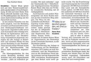 Zeitungsartikel vom 16. Sept. 2014 über die Einweihung des Strodehner Bootssteges aus der MAZ.