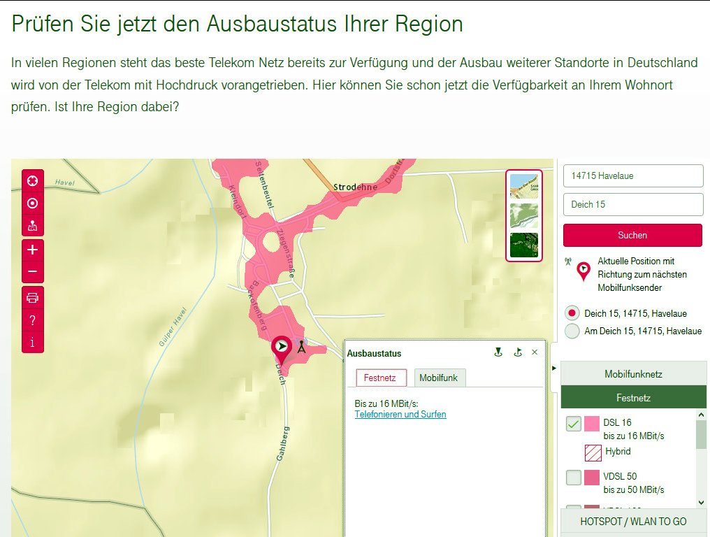 Telekom Dsl Ausbau Karte.Doch Dsl Für Strodehne Strodehne